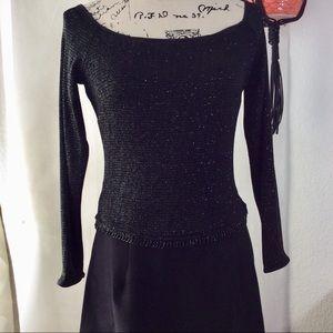 Vintage Scott McClintotock Black Sparkle Gown sz 8
